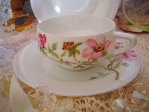 Antigua taza de porcelana de bohemia pintada a mano 1890 for Tazas porcelana
