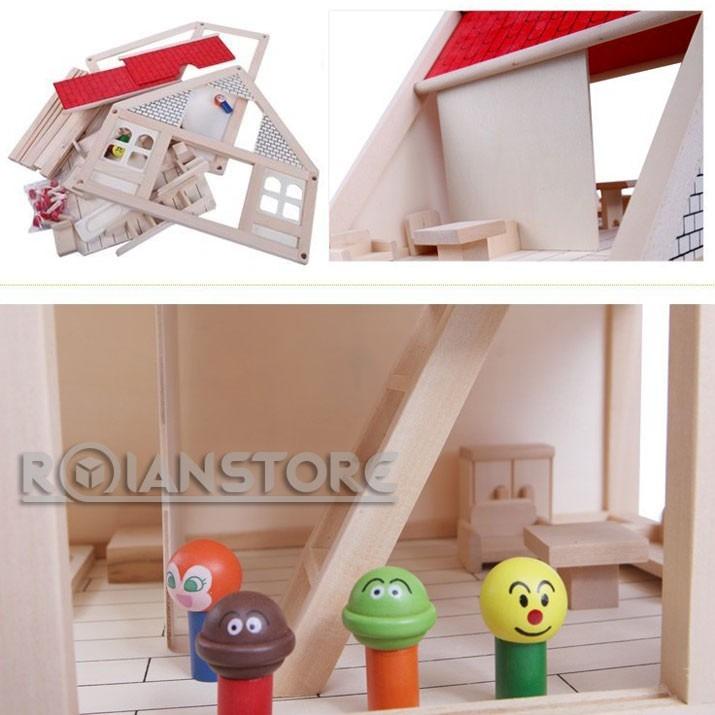Casa de mu ecas de madera para armar con muebles y monitos for Muebles casa de munecas