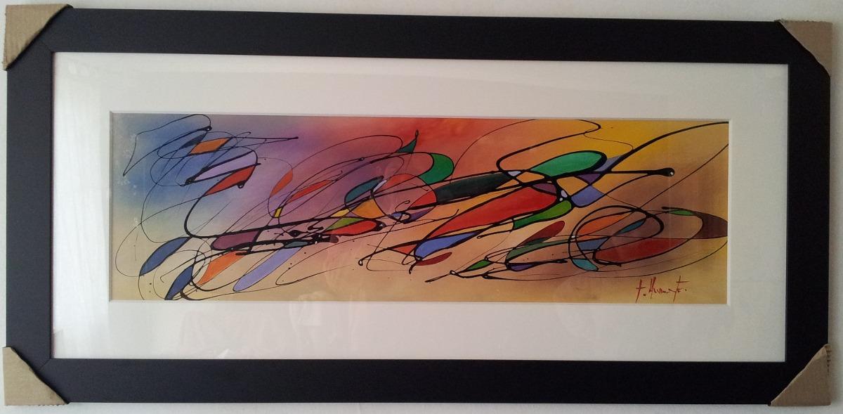 Cuadros abstractos al oleo con marco de madera ikean for Cuadros abstractos con marco