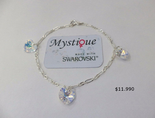 pulsera con 3 corazones swarovski elements azul bermuda blue