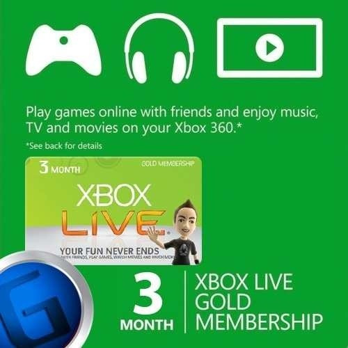 tarjeta xbox live gold 3 meses - entrega inmediata 5 min!