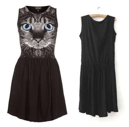 vestido corto  de gato